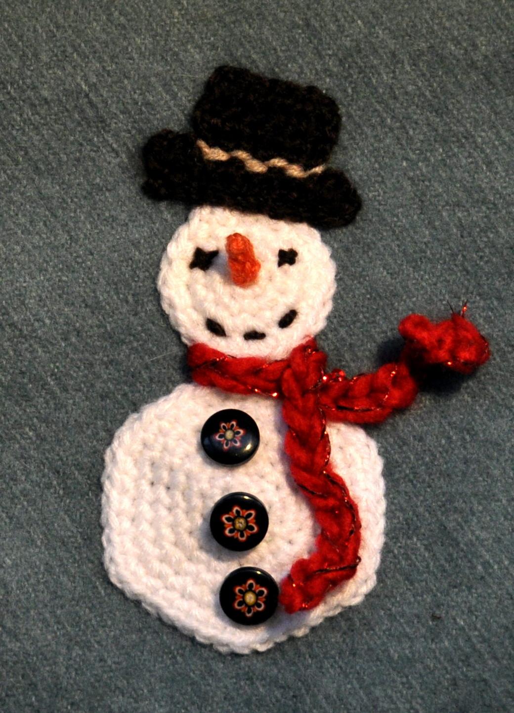 Crochet snowman appliqué