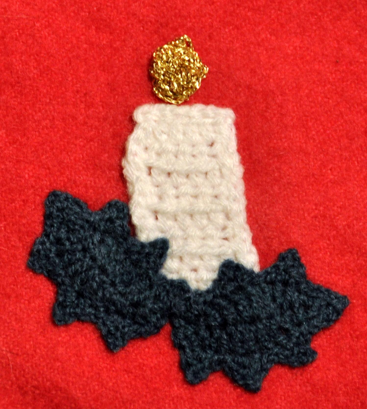 Crochet candle appliqué