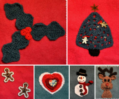 Christmas crochet appliqué